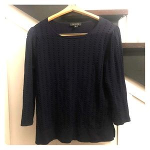 Ann Taylor Navy Blouse in Size Large